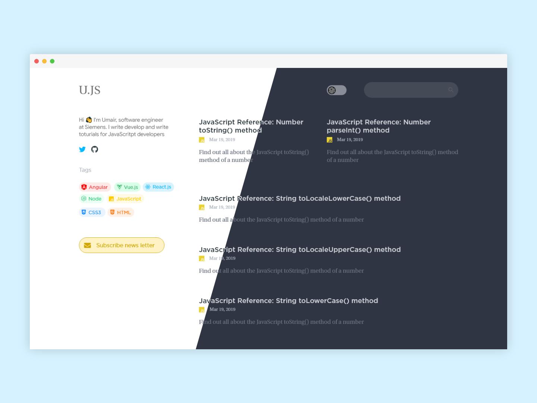 Developer Blog Concept simple design branding ui web app clean illustration ux ui design personal blog