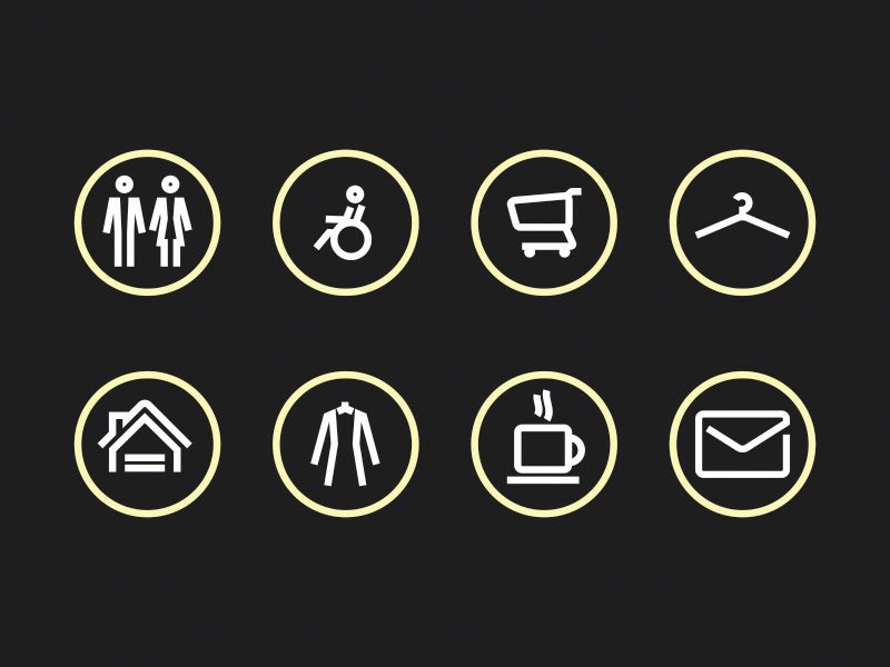 Mall sign icons indoors wheelchair toilet wardrobe handicap mail grocery store cafe wc shop icons signs mall