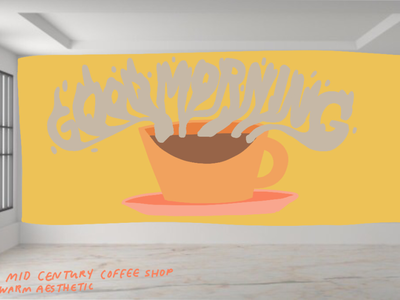 Hypothetical Mural: Coffee Shop mutedcolors aesthetic procreate acrylic paint artist art mural design muralart good morning coffee shop logo coffee shop muralist mural