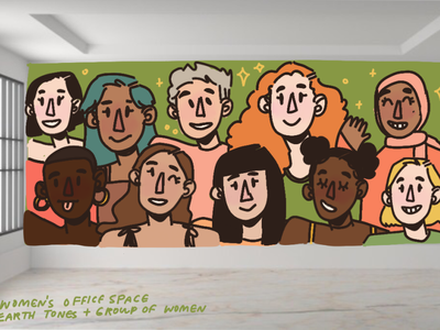 Hypothetical Mural: Women's office women empowerment women in illustration womens office women design procreate muralist mural illustration aesthetic illustrator artist art