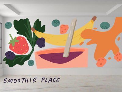 Hypothetical Mural: Smoothie restaurant smoothie design acrylic art procreate muralist mural illustration aesthetic illustrator artist art