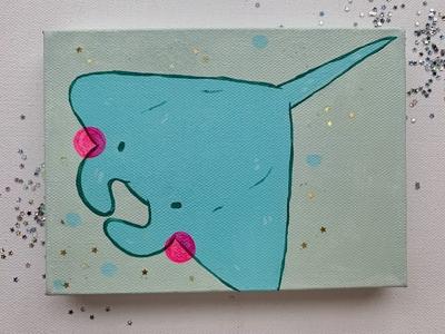 Manta Ray Painting stingray ocean water ocean life ocean art sea manta ray acrylic cartoon animal cartoon animals acrylic art illustration aesthetic illustrator artist art