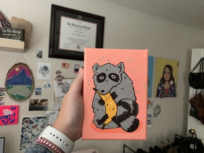 Little Raccoon Painting raccoons banana raccoon acrylic cartoon animal cartoon animals acrylic art illustration aesthetic illustrator artist art