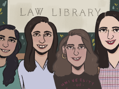 Commission: Law girls girlsillustration commission girls night out law library law women girls design procreate illustration aesthetic illustrator artist art