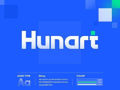Hunart digital agency illustration logo branding minimal flat typography ux ui design