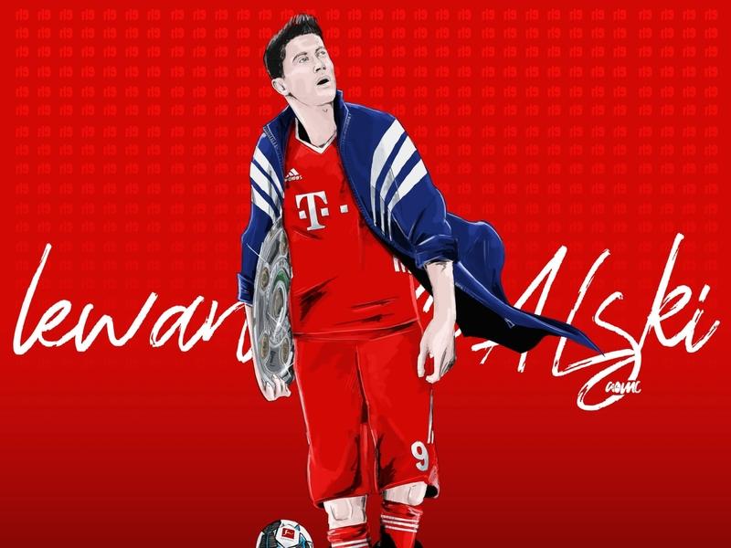 LewanGOALski footballdrawing soccerdrawing bayern sportsillustration illustration digitaldrawing aomc design