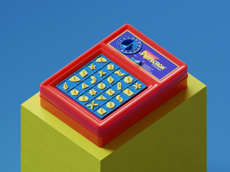 Perfection + After Hours vintage toy design toy retro rendering render product design nostalgia colors geometric design concept art brand identity brand