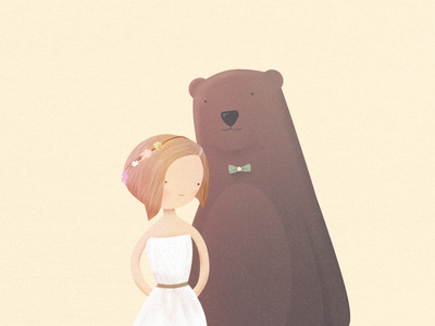 The Bride and the Bear wedding invitation save the date character bear bride dress flowers texture bow-tie