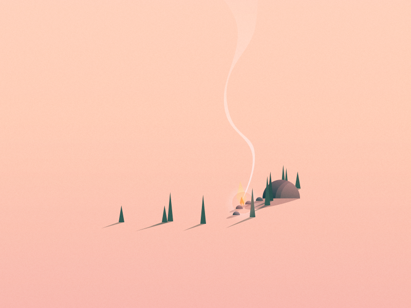 Colony isometric illustration vector landscape smoke trees fireplace cabin shadow game indie concept