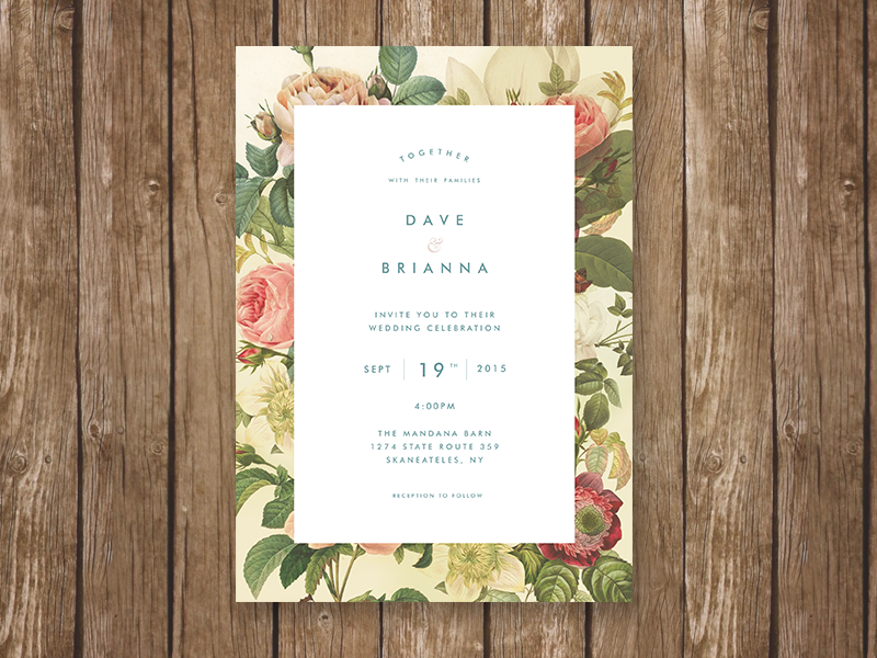 Wedding Invitation typography floral wood paper flowers print stationary invite wedding