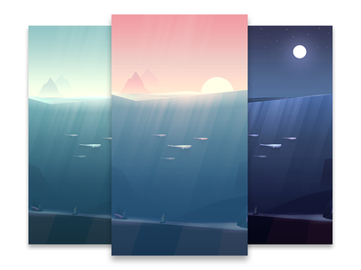 Whale Migration  landscape light rays water mountains warm bettercompany sunset whales illustration