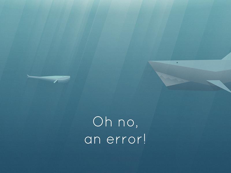 404 app 404 shark low poly whale ocean water illustration error