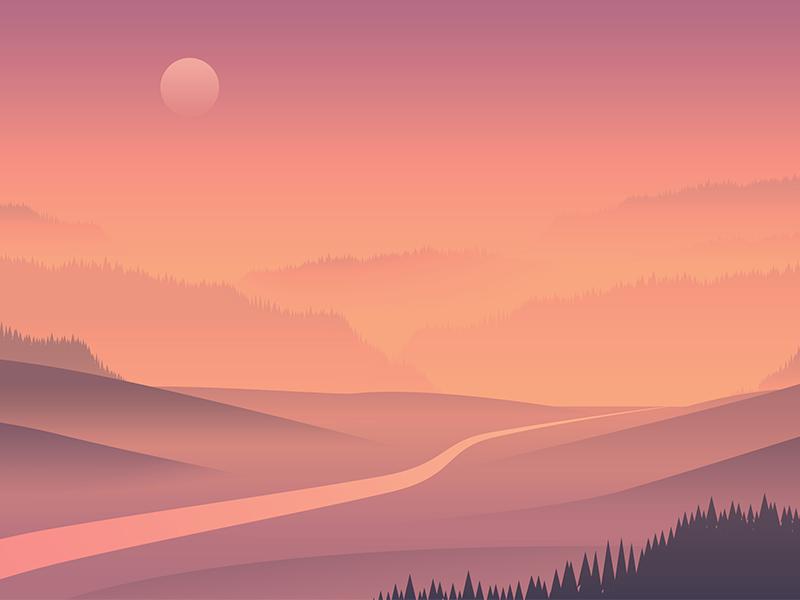Landscape Concept 01 fog endless simple 2d vector nature river trees sunset hills landscape