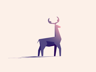 Sunday Friend shadow shape minimal simple low poly illustration character stag antlers deer