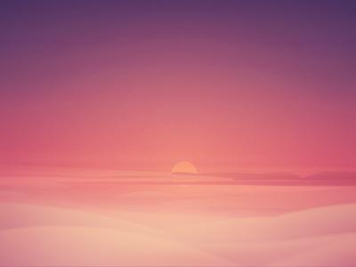 Cloud Rise glow blur dream fluffy clouds 2d sunset illustration