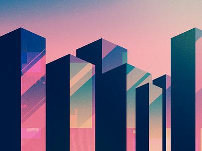 glitch reflection glitch sunset city buildings illustration