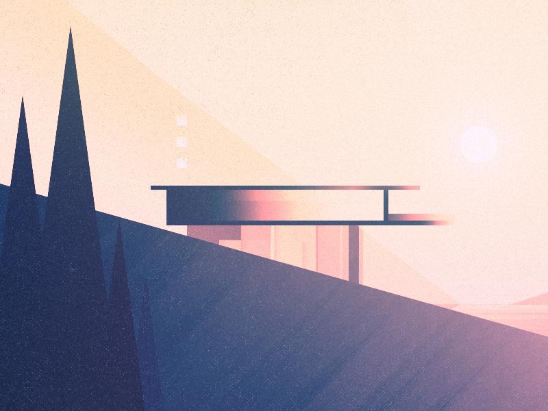 advent architecture scene warm texture illustration minimal future
