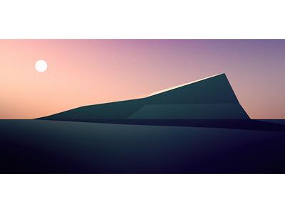 First Light geometric flat mountain sunrise dusk minimal illustration