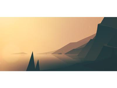 golden coast drive mountains coast minimal sunrise illustration