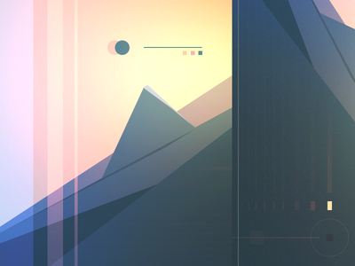moon future vintage sci fi minimal illustration