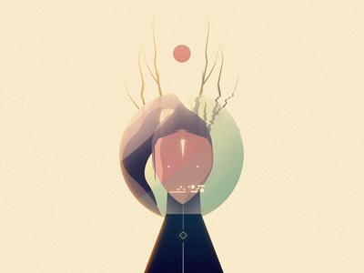 Earthling future creature deer horns astronaut human minimal illustration character