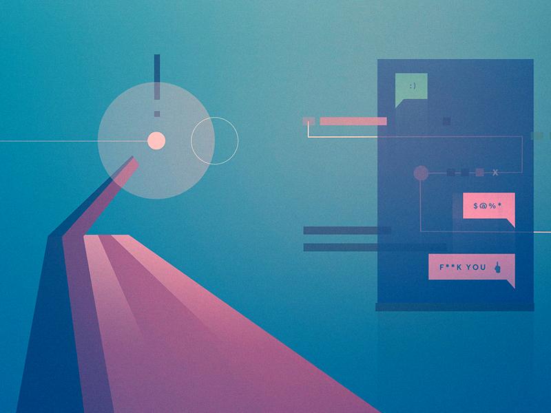 A.I. + Bots bot geometric illustration minimal abstract futurism editorial