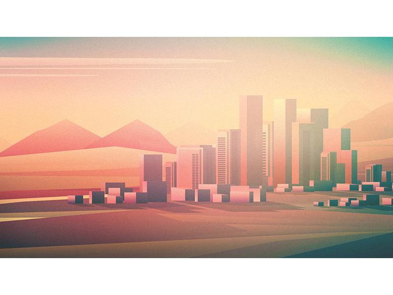 LA buildings sunset illustration city