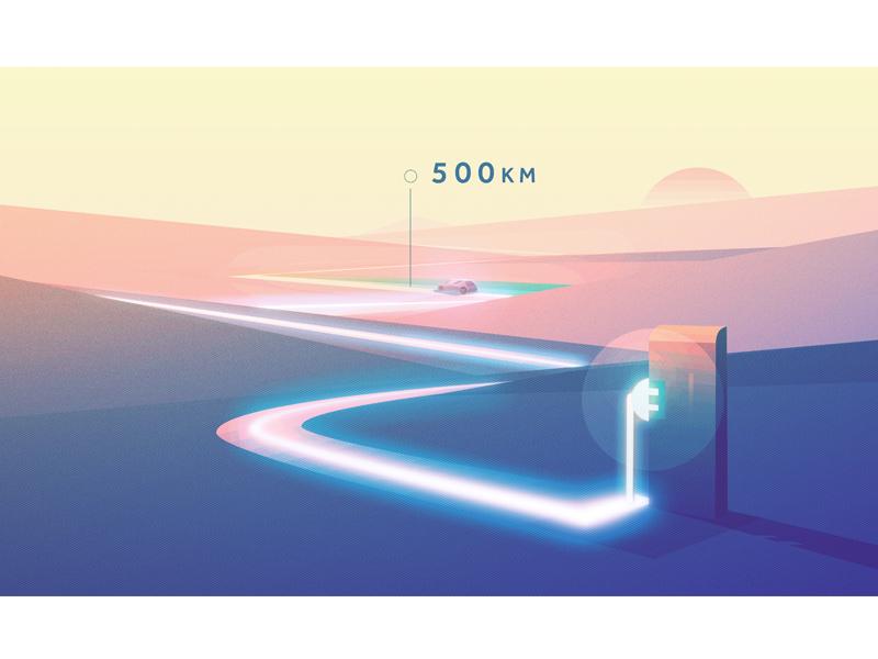Electric cl vehicle landscape geometric illustration minimal