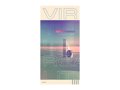 VR type graphic design poster art ticket retro virtual reality vr