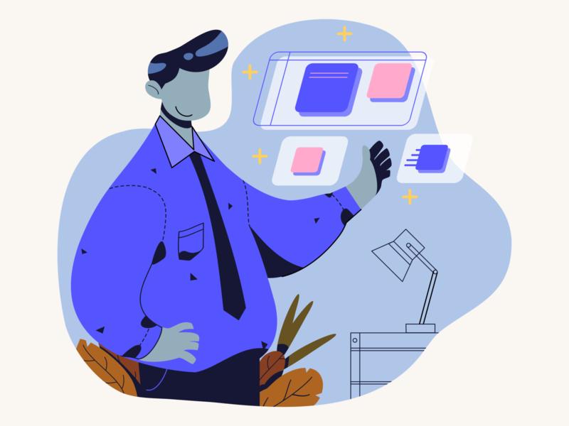 Ease in your Hands characterdesign 2d character working officer graphic design art illustrator minimal app web ux vector design illustration