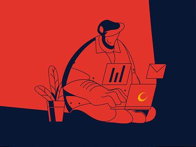 Balance your life #Work working ux ui web vector design illustrator illustration characterdesign art 2d character