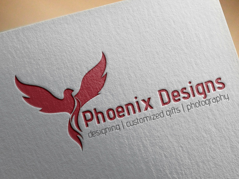 Logo - Phoenix Designs re-brand red vector typography mock-up love logo branding design india graphic design
