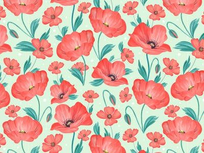 Poppies pattern digital illustration surface pattern design springtime floral pattern floral art flowers pattern designer surface pattern pattern design pattern illustration procreate