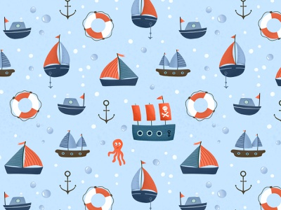 Ships on blue bubbles ships sea nautical illustration pattern designer surface pattern procreate childrens illustration kids pattern design pattern