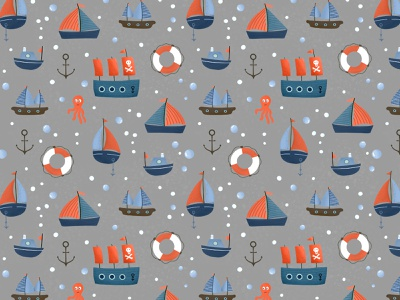 Ships on grey ships sea nautical procreate digital illustration kids art surface pattern design pattern designer illustration surface pattern pattern design pattern
