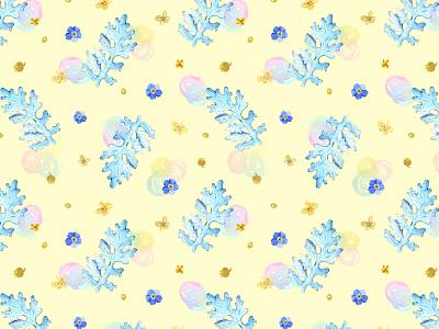 Dusty Miller pattern (on yellow) floral design floral pattern hand drawn illustration pattern designer surface pattern design fabrics textile pattern surface pattern watercolor pattern design pattern