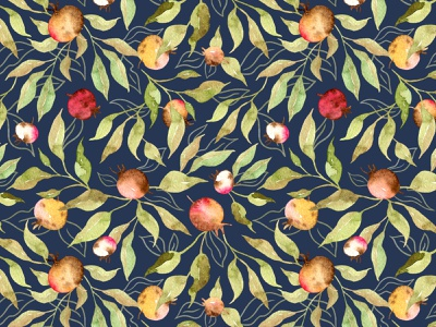 Watercolor Rosehips on navy textile pattern fabrics textile fabric pattern watercolor drawing watercolor pattern watercolor surface pattern pattern designer pattern design pattern