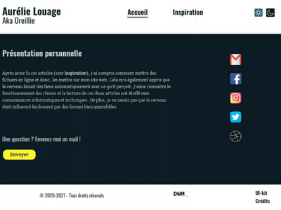 Dark mode of my first project Hello World school first mobile ux design ui design website social contrast colors yellow blue design project darkmode dark