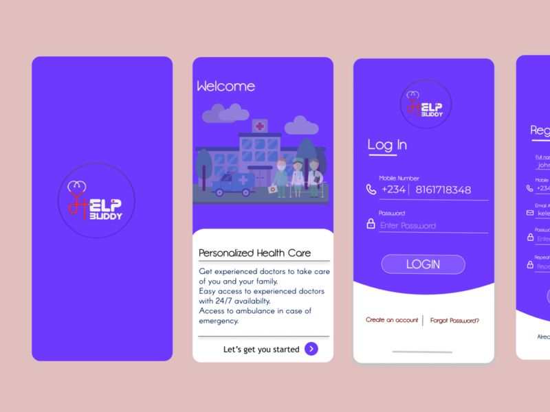 Medical App, Help Buddy medical figma ui design