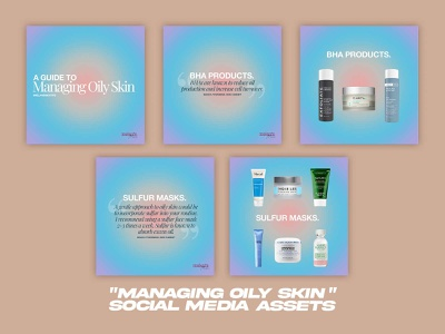 Managing Oily Skin - Social Media Pack social media templates social media pack social media design graphic design design branding brand design