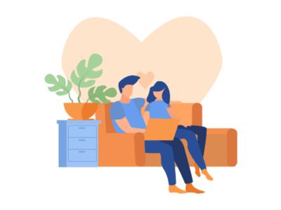 Romantic flat illustration