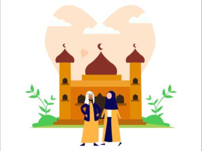 Muslim couple flat illustration