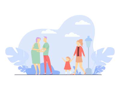 Flat vector illustration of happy family illustration
