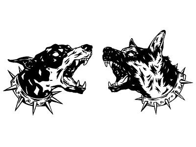 Illustration - Spiked Dogs ink procreate illustration design