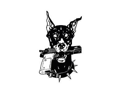 Illustration - Hold Up Doberman doberman dog ink procreate illustration design