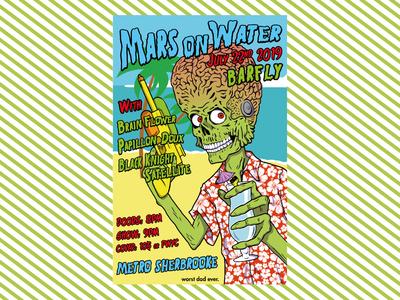 Flyer design - Mars on Water band gig poster flyer flyer design ink procreate illustration design