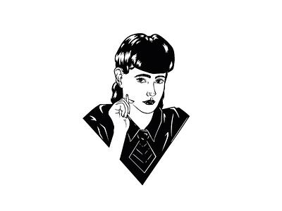 Illustration - Rachael portrait black and white portrait women portrait blade runner rachael ink design procreate illustration