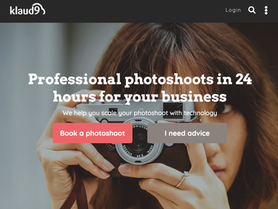 Klaud9 - Home page website photography marketplace