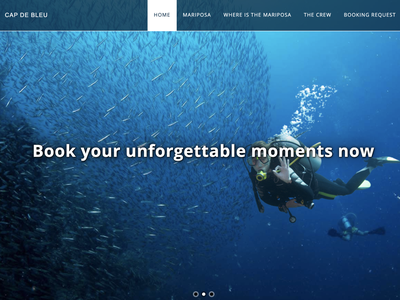 Cap de Bleu - Home page boat booking website diving