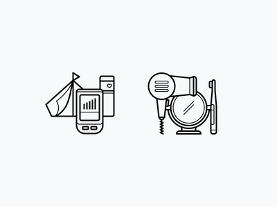 Comparison Categories categories comparison pixel perfect line beauty sports camping outdoor illustration icons